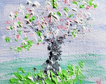 Northern Spring (Miniature Acrylic Painting with Easel)