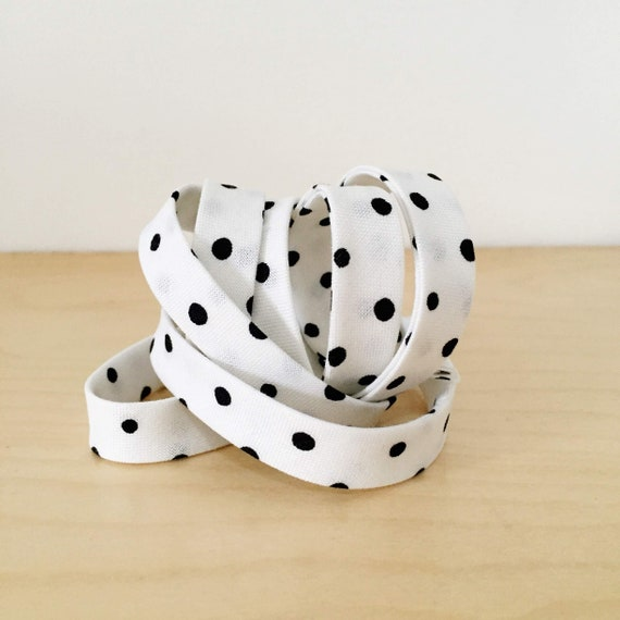 """Bias Tape in Sarah Golden's Around Town Small Dots in black and white 1/2"""" double-fold cotton binding- 3 yard roll"""