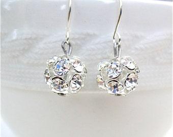 Rhinestone Bridesmaid Earrings Silver Swarovski Rhinestone With Silver Ear Wires Bridal Rhinestone Ball Earrings Bridesmaid Gift