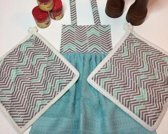 Oven Door towel & Potholders - Teal and Gray