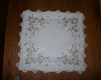 Antique hand done lace doily square 12""