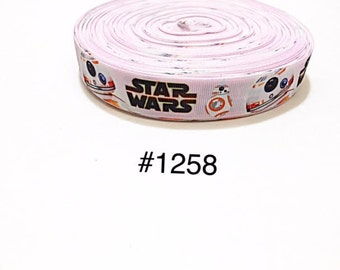 """3 or 5 yards - 7/8"""" Star Wars Robot on Pink Grosgrain Ribbon Hair bow"""