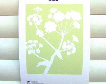 SECONDS: Botanical Art Print Green Meadow Ferula - 10x8 Modern Nature Floral Pretty Papercut Design