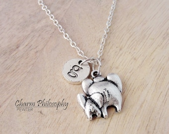 Mom and Baby Elephant Necklace - Antique Silver Elephant Family Pendant - Elephants Backside Charm - Personalized Monogram Initial Necklace