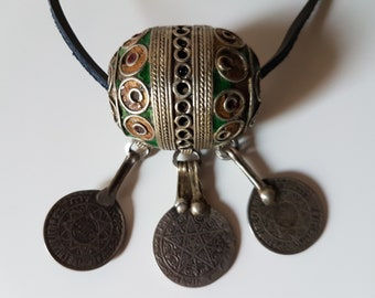 Old Tagmout egg pendant, Berber fertility amulet, Berber amulet, Berber coins, Moroccan old jewelry, Berber jewelry