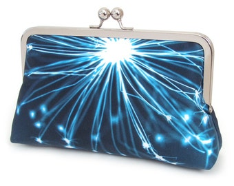 Clutch purse, silk bag, blue white sparkle, firework, seedhead, flower pod, star, sunburst, SPARKLEPOD