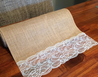 Single 8ft long  Premium Burlap table runner with lace accents