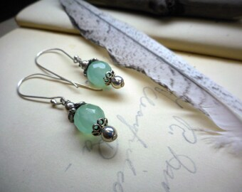 Arctic Glow earrings. blue chalcedony faceted spheres sterling silver ear wires ornate grapes bead caps