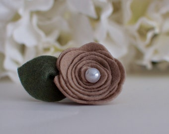 Tan Felt Mini Rose -Can only be purchased with a frame from Kissel Ave!