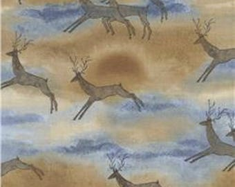Deer Fabric, Southwest Fabric, Aztec Deer Fabric, Deer Natural Fabric, Far and Away by Timeless Treasures, 01200A