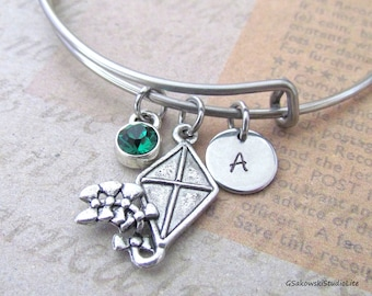 Kite Bangle Personalized Hand Stamped Initial Birthstone Kite Charm Stainless Steel Expandable Bangle Bracelet