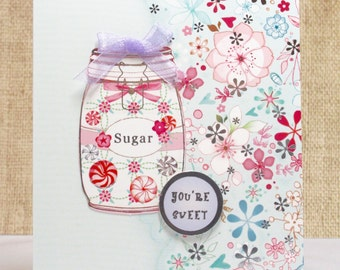 Sweet All Occasion Card- All Occasion Cards- Mason Jars- Handmade Just Because Card