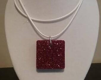 Red Glitter Christmas Pendant - Square