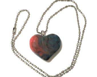 Heart Pendant Necklace, Hand-Built Ceramic Heart on Chain, Ceramic Jewelry, Heart Art