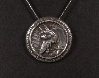 Sterling Silver Horse pendant made from antique vintage button