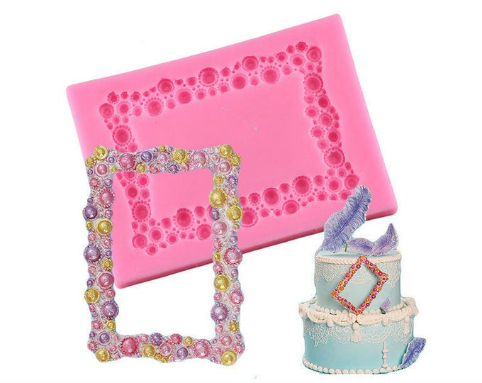 Pearl Bubble Frame Silicone Mold - XL950 Baking Fondant Happy Birthday Party Wedding Cake Bridal Baby Shower Beads Classic Picture
