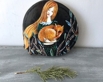 Fox decor, woodland nursery, ginger hair, sleepy fox, shellieartist, baby shower gift, gift for her, mounted print, wood slice
