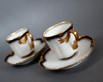 Haviland & Co Limoges France - Pair of Porcelain Demitasse Cups with  saucers - Antique China