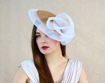 Gold Saucer Hat with White Crinoline Swirl Detail - Gold and White Hat - Mother of the Bride Hat - Ascot Hat - Races Hat - Derby