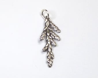 Cedar Charm or Pendant, Sterling Silver Cedar Jewelry, Outdoor Gift, Botanical Charm Only for Bracelet