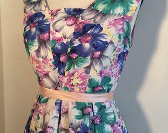 Vintage 50s Floral Dress Cotton