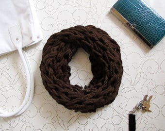 Brown Chunky Knit Infinity Scarf, Cowl