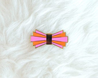 Deco Design Enamel Pin Bow Tie Brooch Pink Orange