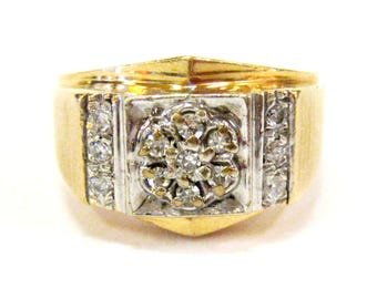 14K Diamond Vintage Men's Ring - X4087