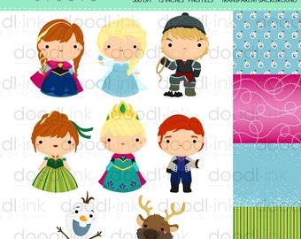 SALE 50%!!! Cute Ice Princess Digital Clipart / Snow Princess Clip Art / Digital Paper For Personal Use / INSTANT DOWNLOAD
