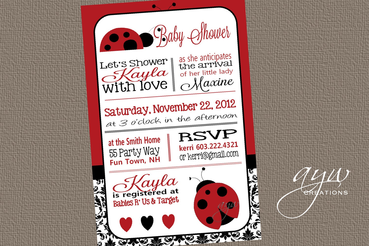 Ladybug Baby Shower Invitation Girl Invitation Ladybug