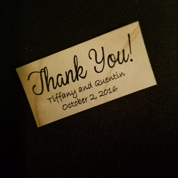 "Thank You Sticker Personalized Wedding Shower Favor 1.25"" x 2.25"" STICKER choose your amount"