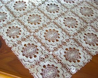 1 foot square piece of lace, 5 squares across. Vintage 1960s.