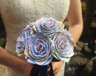 Map Paper Rose Bouquet, Travel Bridal Bouquet, Paper Wedding Roses, Dallas Handmade Paper Bouquet, Custom Made to Order Bouquet