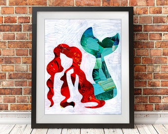 Mermaid gifts, Mermaid decor, Mermaid art print, Christmas gift ides, The little Mermaid, Mermaid wall art print, whimsical art