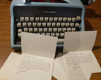 Personalized typewritten thank you note