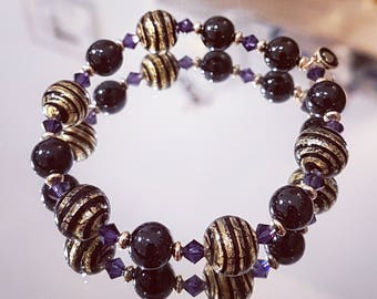 Bracelet black spinel with stiees (gold leaf) Murano glass beads, puple velvet Swarovski Crystal and gold beads