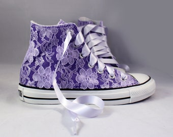 Purple Lace High Top Converses With Purple Lace --Purple Bridal Converses  -Purple Wedding Converse High Top-- Custom Converses