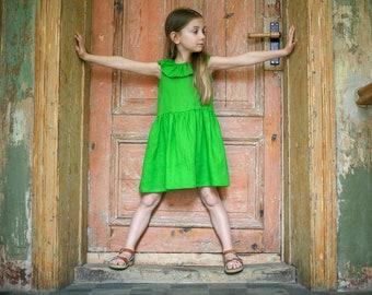 Girls Clothing Girls Linen dress Green linen dress gray flower girls dress Linen girls outfit Girls linen summer dress