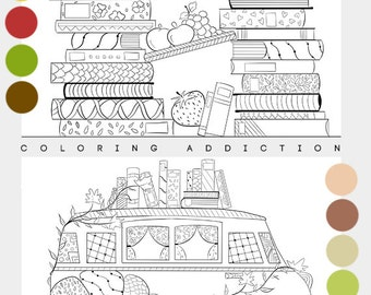 Adult coloring - 2 pages, adult coloring pages, adult coloring book, instant download, fruit coloring page | Books edition
