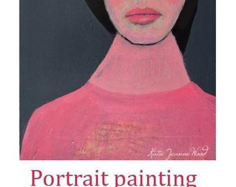Acrylic Naive Woman Portrait Painting. Original Mixed Media Collage Art. Home Office Wall Decor. Miz Katie Art