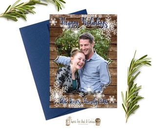 Holiday Photo Greeting Card Rustic Wood Snowflake Printable Digital File or Prints with Free Shipping Country Winter Family Couple