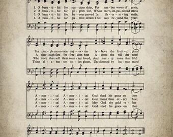 O Beautiful For Spacious Skies Patriotic Print - Sheet Music Art - Patriotic Art - Music Sheet - Home Decor Music Sheet Print - #HYMN-P-042