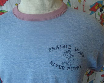 Vintage 80's Prarie Dogs River Puppy Soft Paper Thin Heather Blue ringer Poly Cotton made in USA T Shirt Adult Sz M