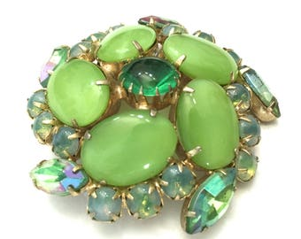 Shades of Green Rhinestone Brooch, Round Domed Design, Moonglow Stones, Gold Tone Metal, Vintage, Statement Brooch