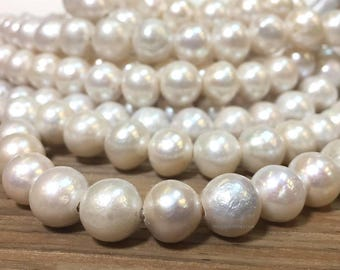SALE 11.5 to 12 mm Large Hole Natural Freshwater Edison Pearl Potato off Round Beads 2.1 mm hole Half Strand about 18 pearls(ET2515W145-BHB)