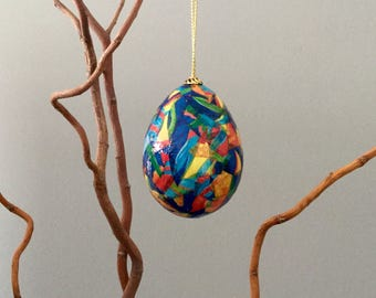 Egg ornament. Holiday decoration. Decorative eggs. Holiday decor. Easter ornament. Abstract designs. Decoupage eggs.