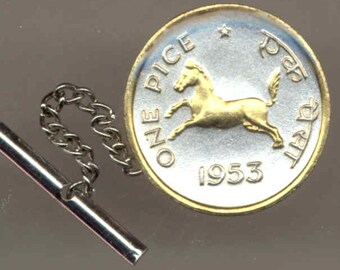 Tie tack - India  Horse, Gorgeous 2-Toned Gold on Silver coin - Tie or Hat tack