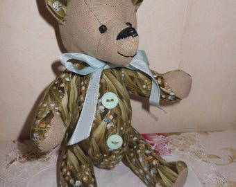 Teddy bear collection of strands of the Valley flower fabric