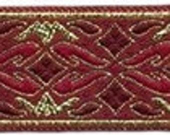 "10 Yard Lot - 7/8"" Red Gold Fabric Trim (L7204)"