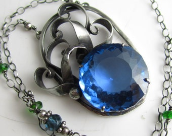 From Water Springs Life - Rich London Blue Topaz, Chrome Diopside and Sterling SIlver Necklace